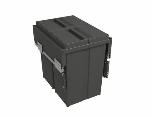 Pull-out waste bin with plastic lid, 2 x 29 litre bins, for 400mm cabinet, Orion Grey